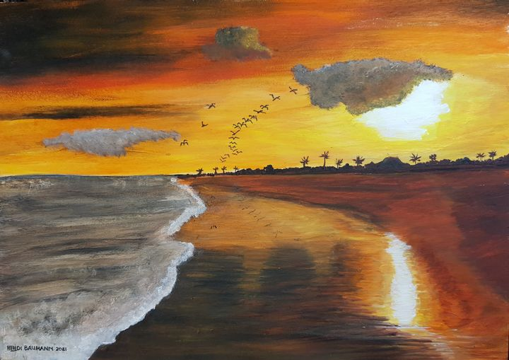 Sunrise at the sea 01 - Heijdi's fantastic painted World
