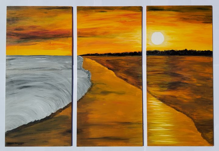 Sunset on the Beach ( 3 Parts) - Heijdi's fantastic painted World