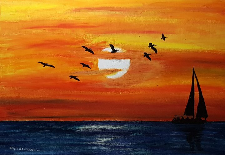 The evening flight of pelicans - Heijdi's fantastic painted World