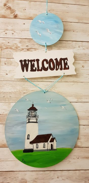 Welcome Lighthouse 01/ Door Hanger - Heijdi's fantastic painted World