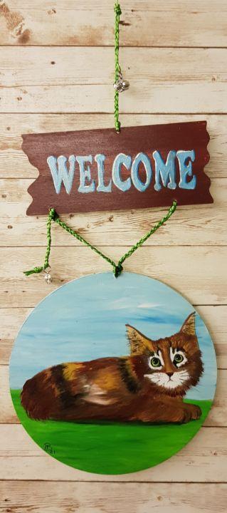 Welcome Cat 01/ Door Hanger - Heijdi's fantastic painted World