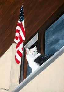 Patriotic Cat - Heijdi's fantastic painted World