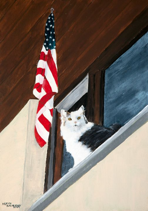 Patriotic Cat - Heijdi's fantastic painted World
