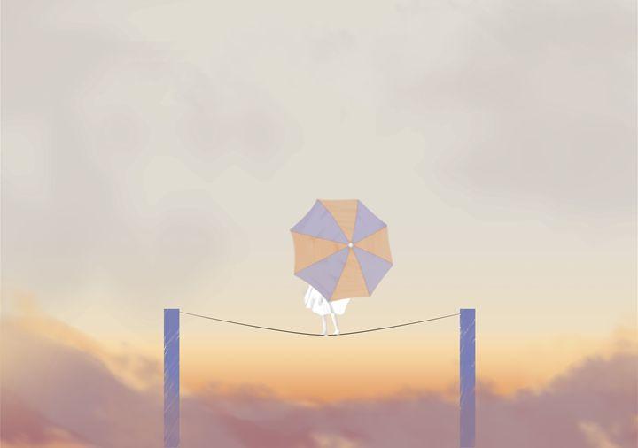 Girl with an umbrella (sunset) - Alvaro Núñez