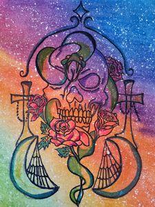 Dark Doodle art , skull & roses.