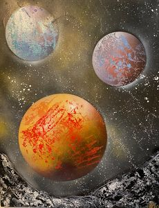 Orange planet with its moons 9
