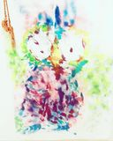 Owl ORIGINAL painting on Canvas bag