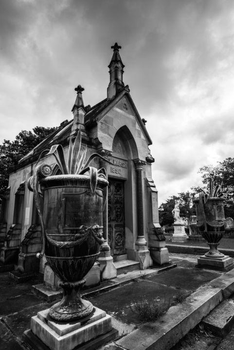 Mausoleum At Oakland (B&W) - James L Bartlett Photography