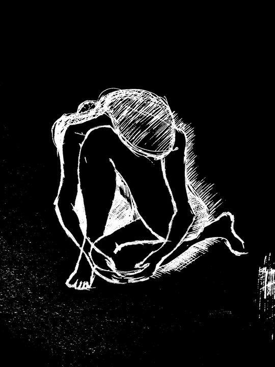 Abstract Black and White Figure - Rik Bakshi