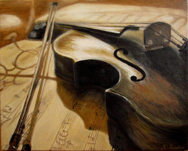 Old violin music  Original oil paint - K Zadorozhna