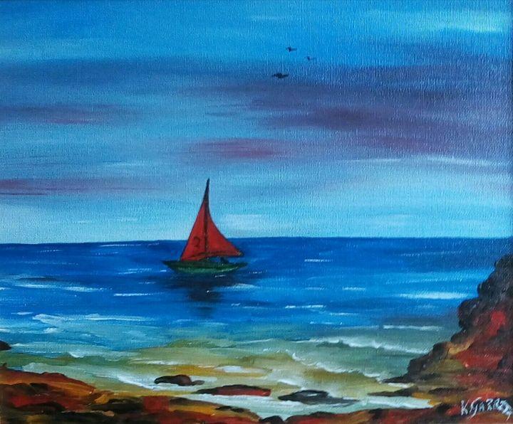 Red Sailboat. - Kathleen Garrett's Art