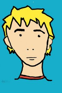 Pop art blonde boy