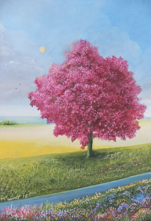 Roble Color Rosa Tree - Alicia Maury Oil Paintings