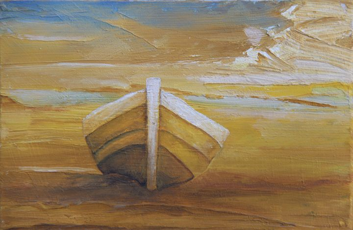 Golden Boat in the Golden Beach - Alicia Maury Oil Paintings