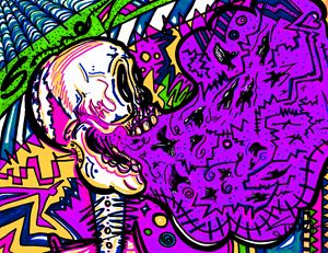 Screaming Skull Purple