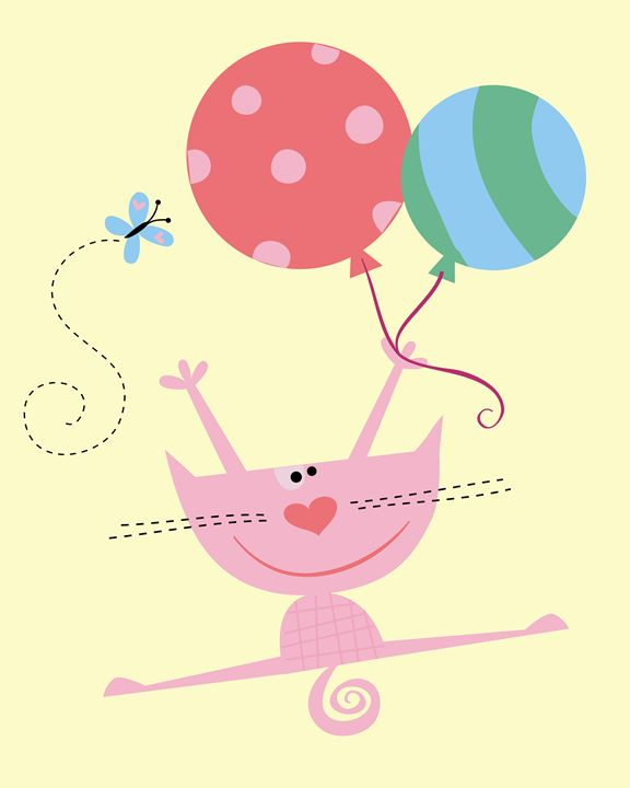 Jumping Pink the cat with Balloons! - Brenda Sexton