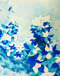 Blue and White Flurry