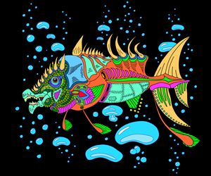 Funky Fish with Ocean Bubbles - NewmanArt