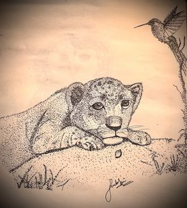"""The Lion cub """"needs attention """"."""