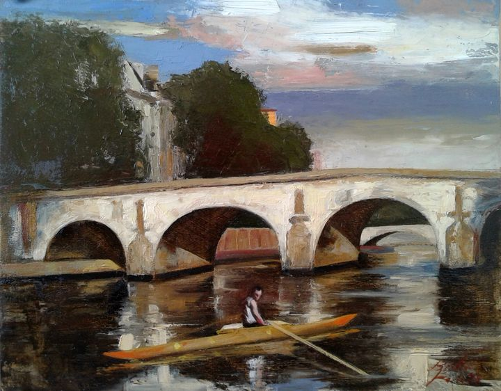 At Rest, Pont Marie, Paris 2018 - Paintings of Paris