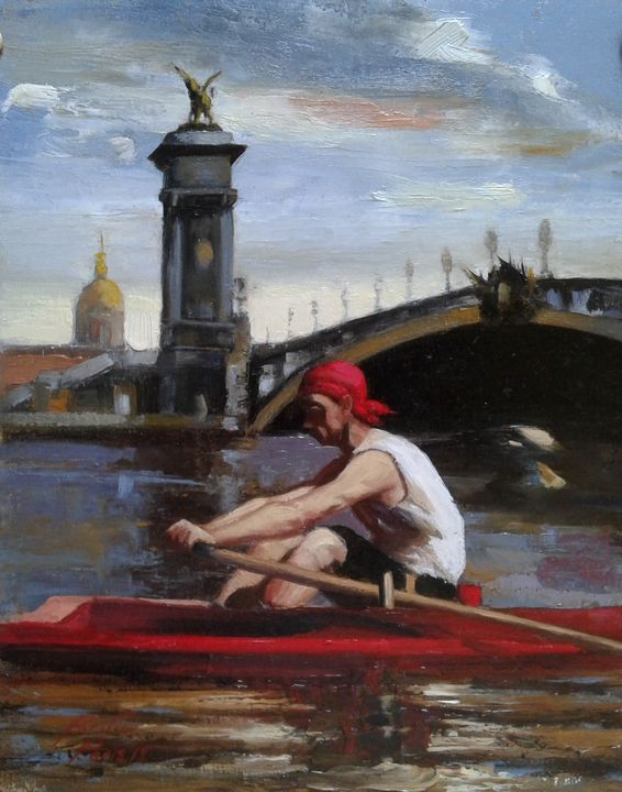Sculling Past the Eiffel Tower - Paintings of Paris