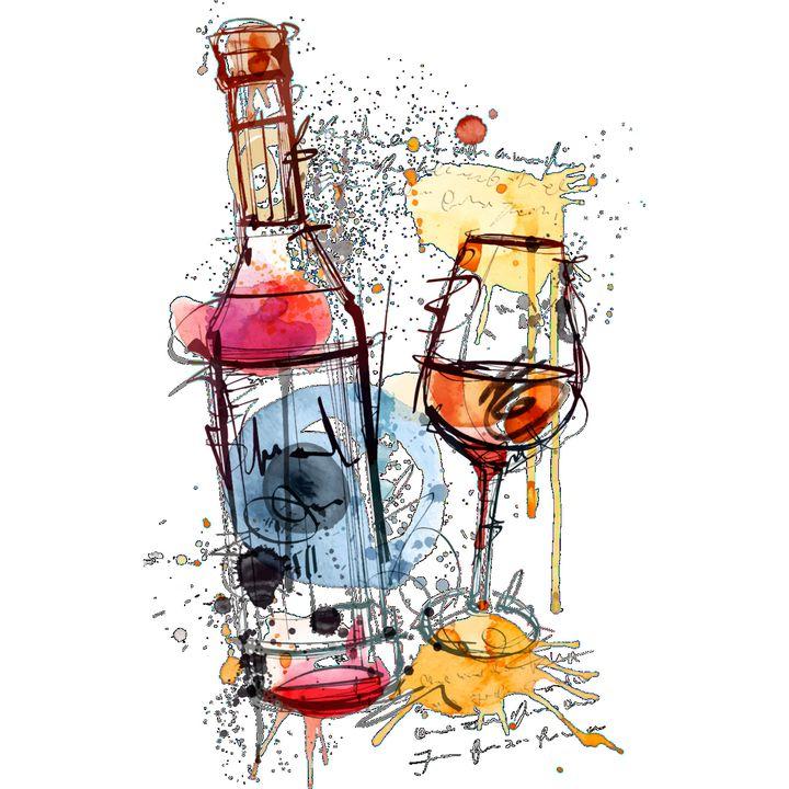 Red Wine Bottle Rosé Glasses - Treasure Hustlers