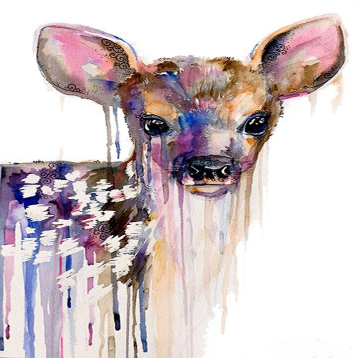Deer Watercolor Painting - Treasure Hustlers