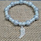 Pearl Diamond Angel Wing Bracelet