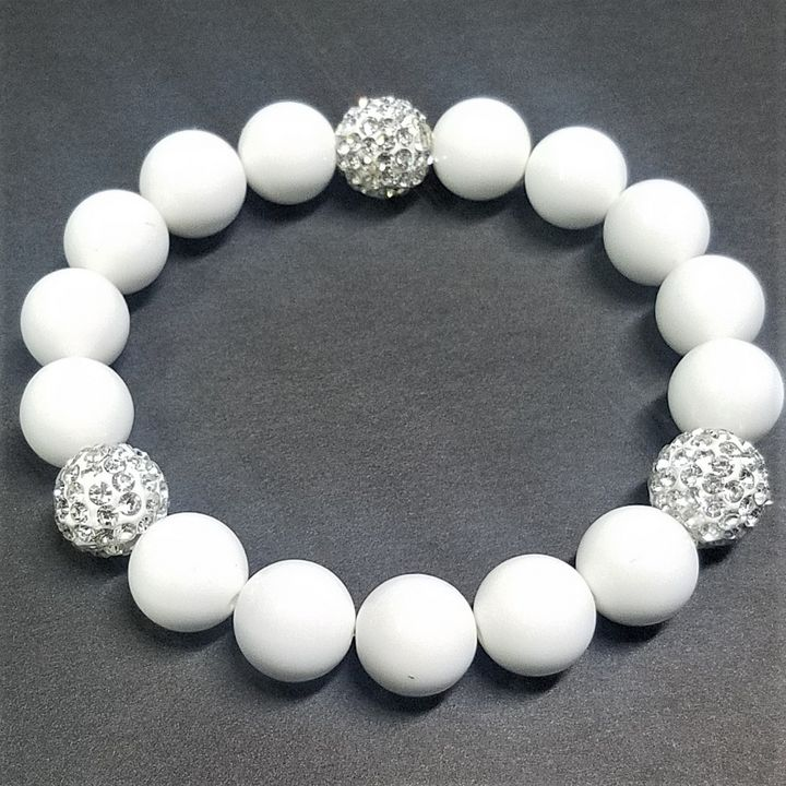 Rhinestone White Beaded Bracelet - Treasure Hustlers