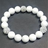 Crystal Rhinestone White Beaded