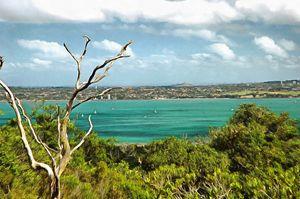 View of auckland across Hauraki gulf