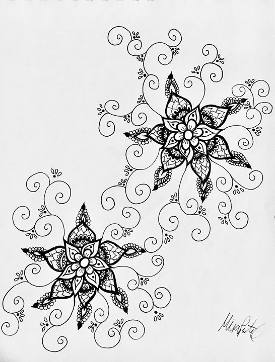 Henna Flower Freestyle Mira Patel Art Drawings Illustration