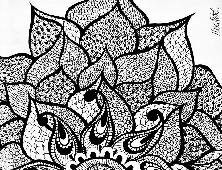 Large Henna Flower Mira Patel Art Drawings Illustration