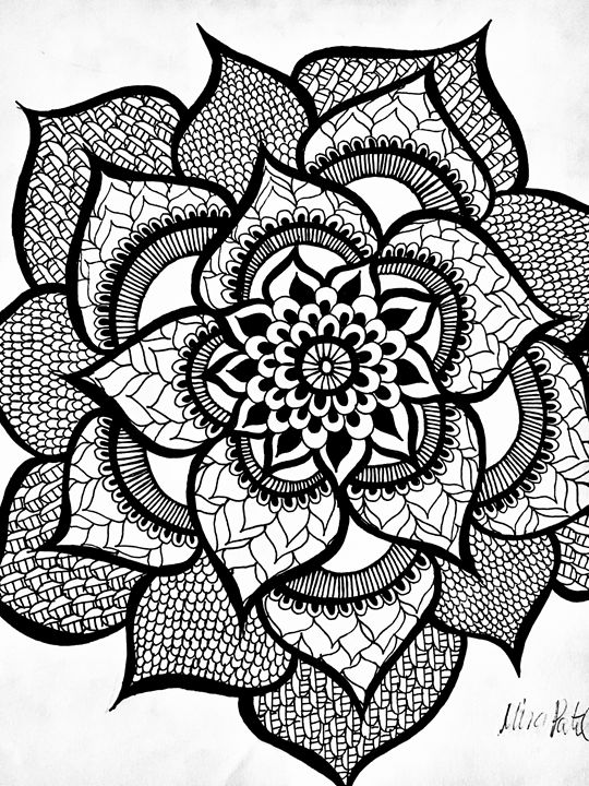 Front Facing Henna Flower Mira Patel Art Drawings Illustration