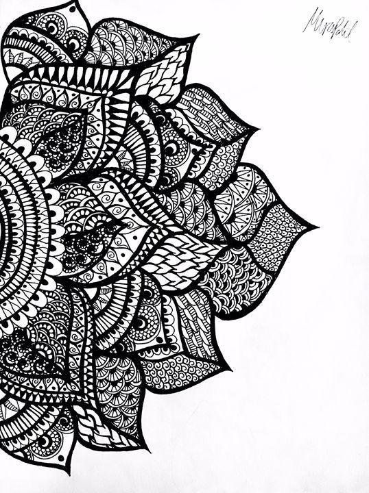 Left Side Henna Flower Mira Patel Art Drawings Illustration