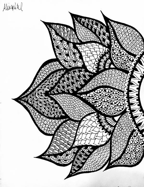 Right Side Henna Flower Mira Patel Art Drawings Illustration