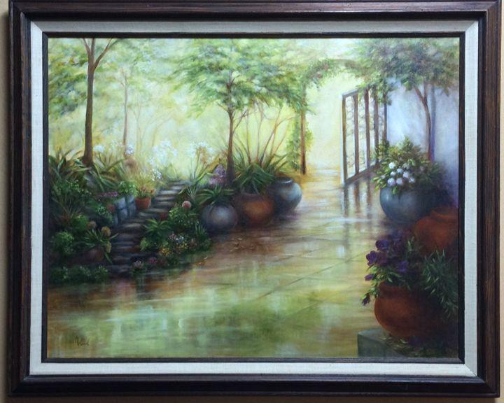 Misty Garden - M. Wood Original Oil Paintings