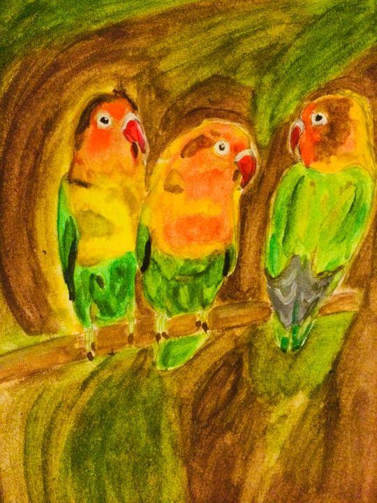 Lovebirds in nature - Yubisart