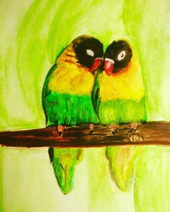 Lovebirds in a tree painting