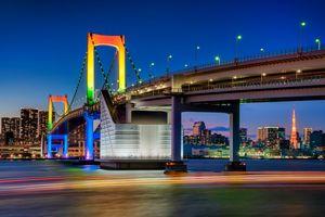 Rainbow Bridge Cityscape Tokyo Japan