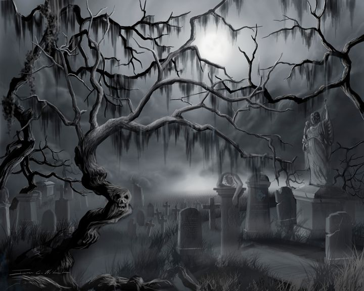 Midnight in the Graveyard - James Hill Gallery