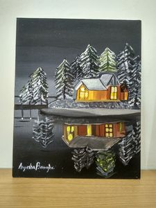 Wooden House Wall Painting
