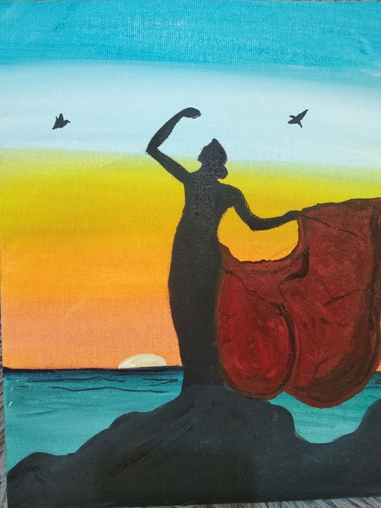Posing by the sunset wall painting - Planet Papers