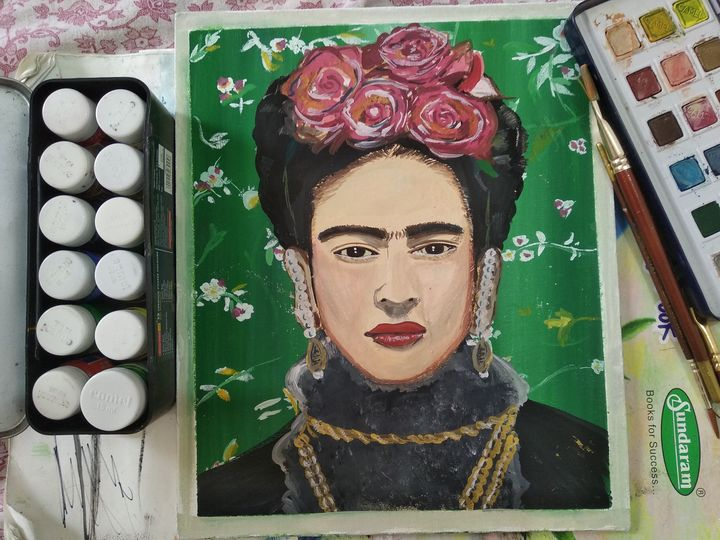 Frida Kahlo Portrait wall painting - Planet Papers