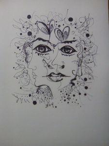 Dessin au crayon d'un visage féminin