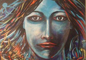 Visage féminin peinture à l'huile