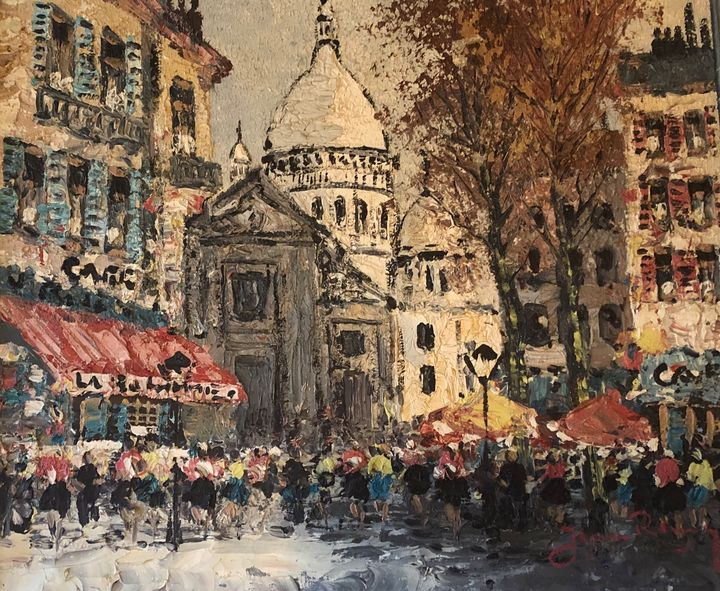 Paris Street Scene - Oil canvas for sale