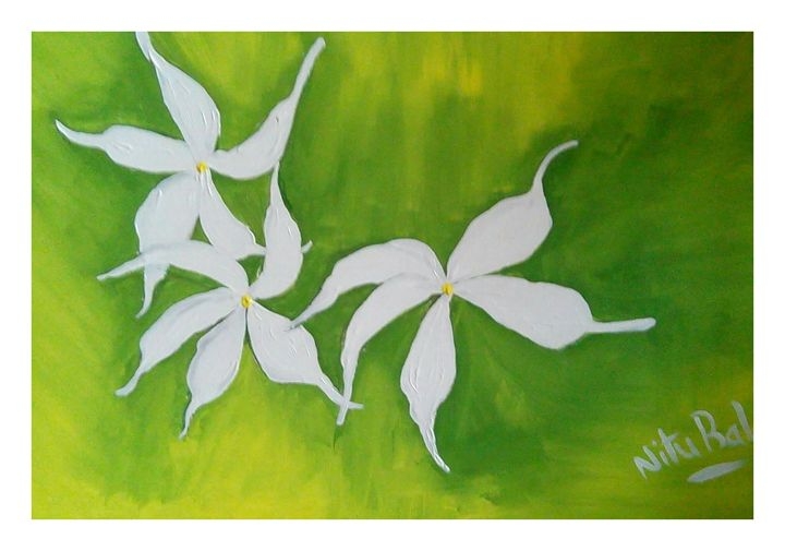 White flowers - Sampresan art