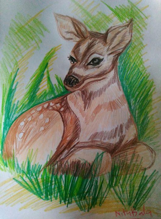 Deer at rest - Sampresan art