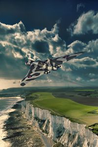Vulcan over cliffs